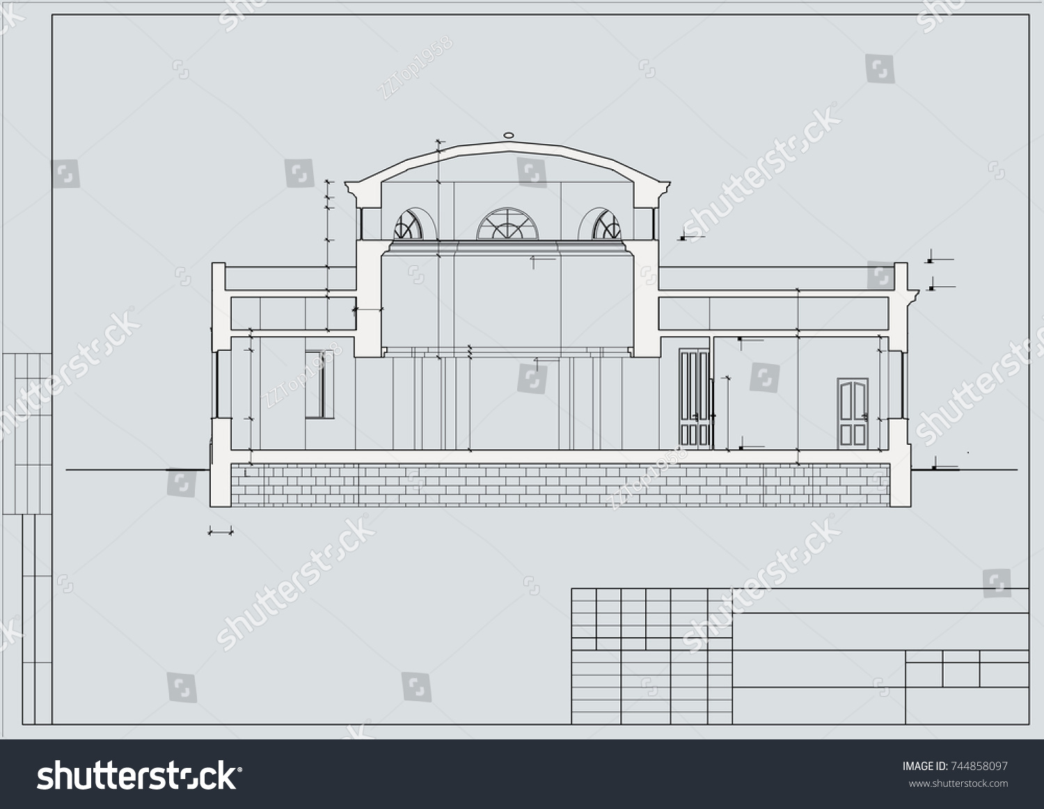 Project building old hospital facade section stock vector the project of the building of the old hospital facade section blueprint malvernweather Image collections