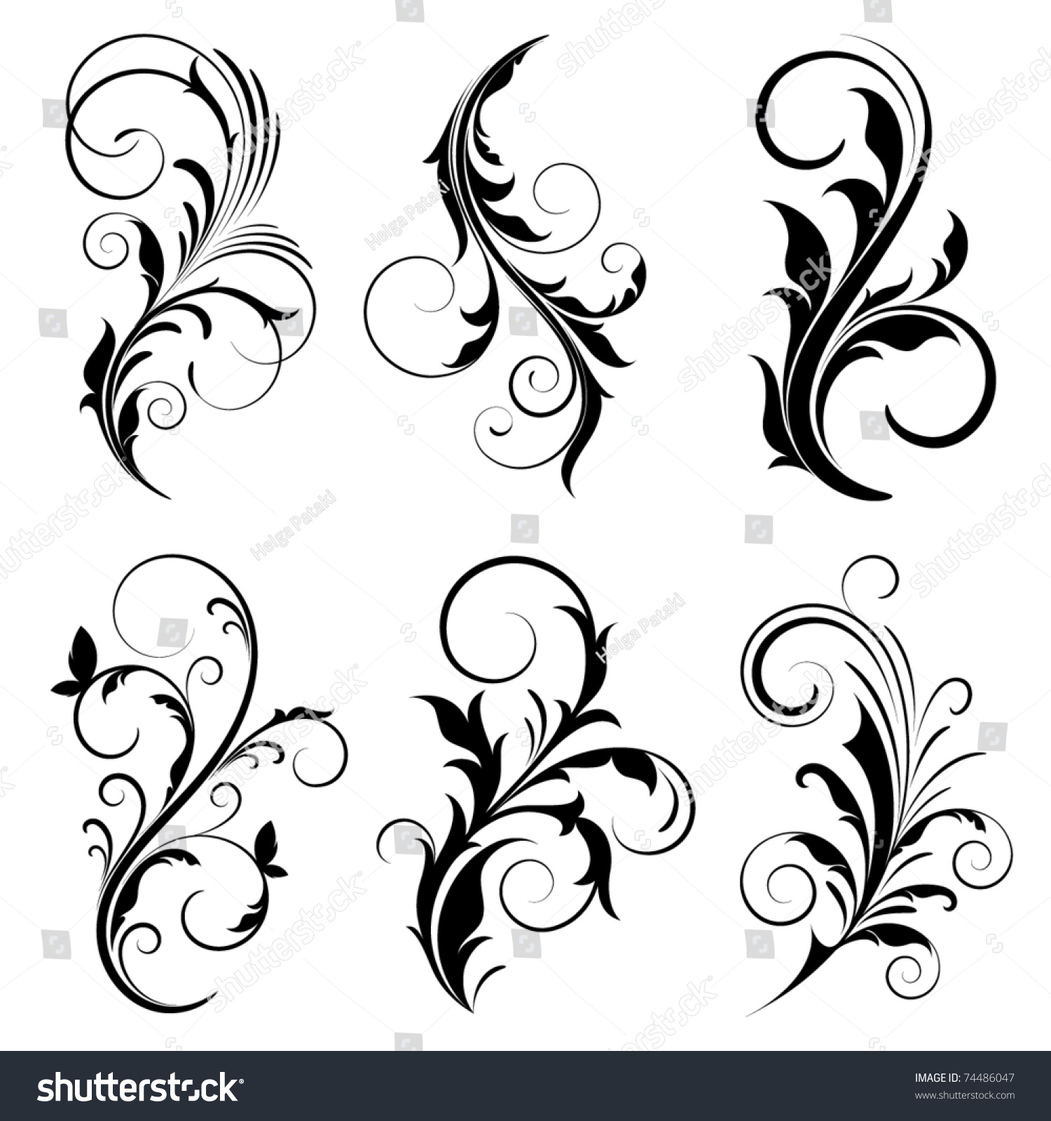 Set Of Black Flower Design Elements Vector Illustration: Set Of Floral Elements For Design. Stock Vector