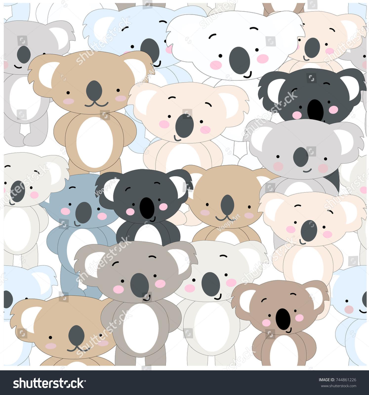 Download Wallpaper Koala Cartoon - stock-vector-vintage-seamless-cute-koala-bear-blue-grey-pastel-baby-teddy-cartoon-background-animal-set-pattern-744861226  Picture_431142   .jpg