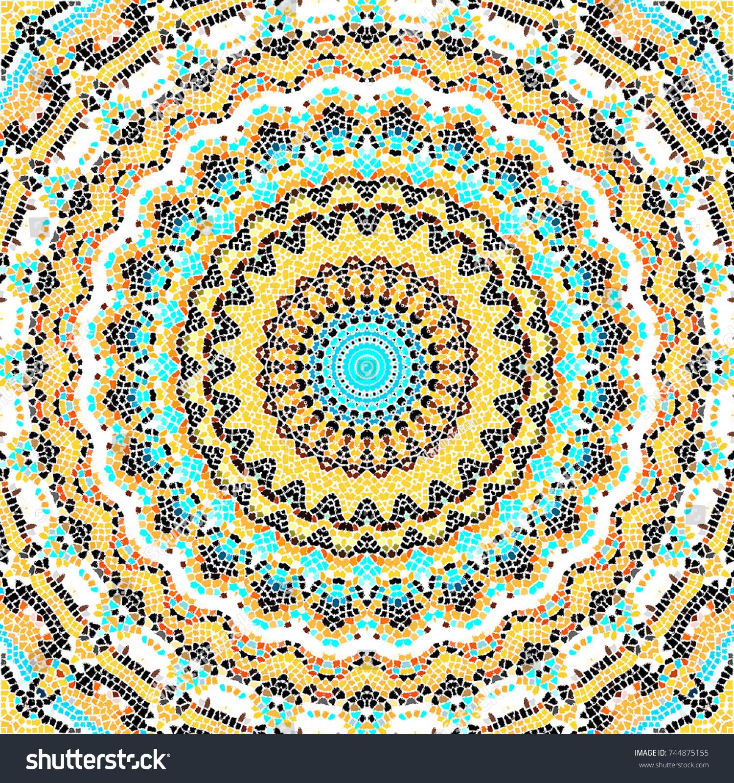 Colorful Mosaic Pattern Textile Ceramic Tiles Stock Illustration