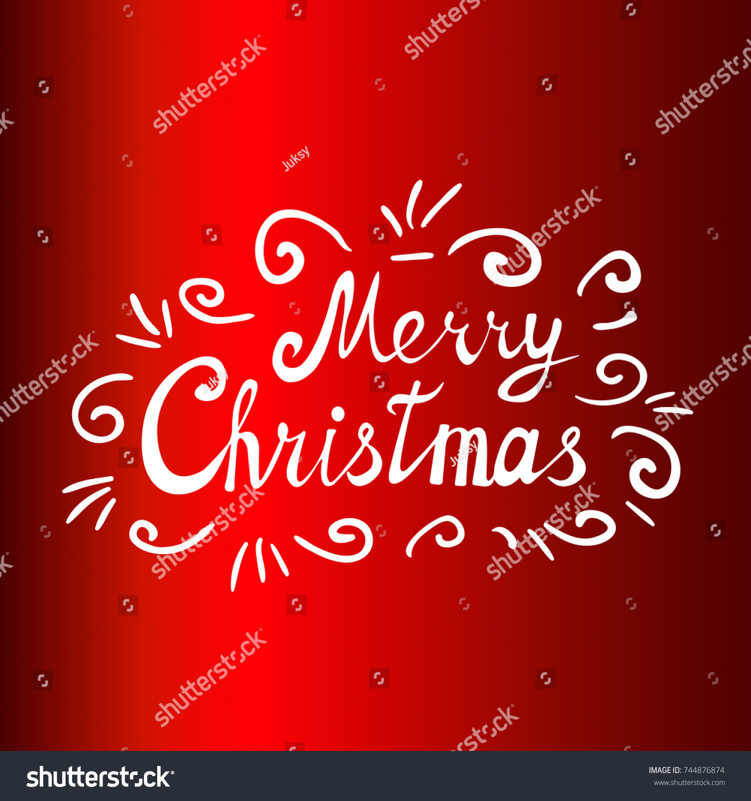 Merry Christmas Card Text On Red Stock Vector 744876874