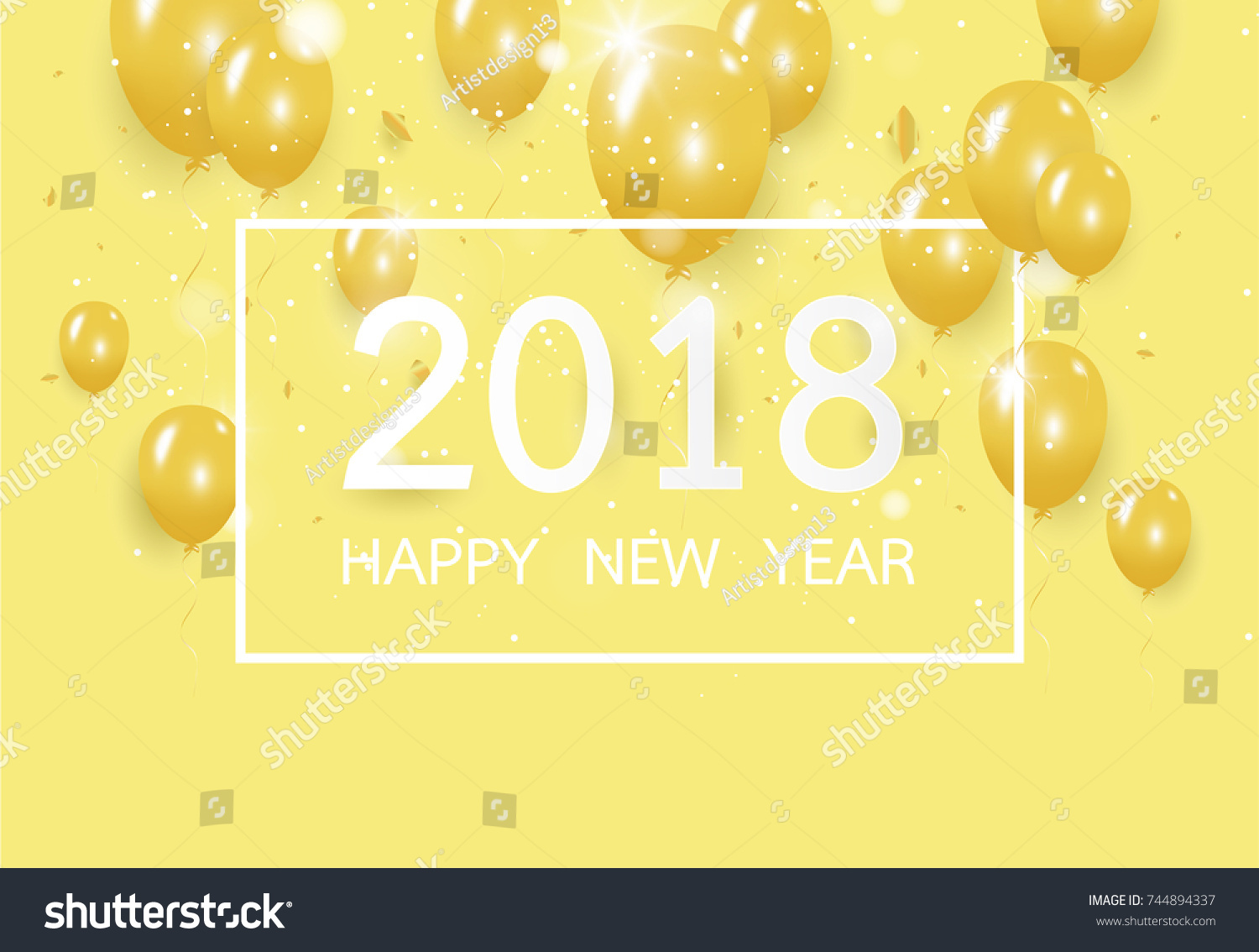 happy new year 2018 with creative yellow balloon concept on pastel pink background for copy space