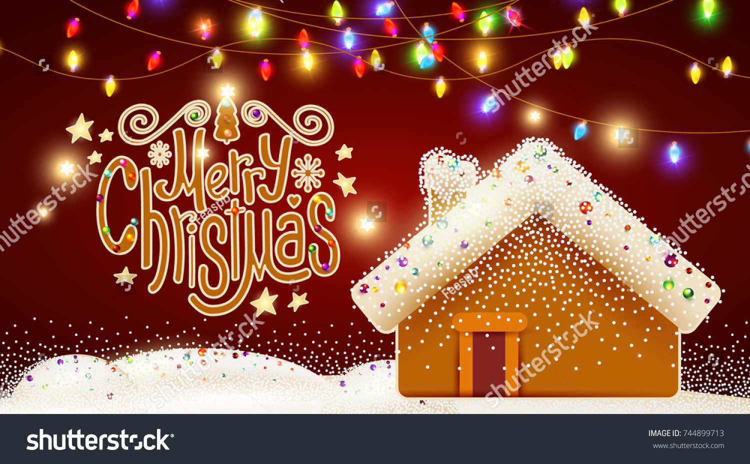 Merry Christmas Cute Background With Candy Lettering Gingerbread House Light Garlands Caramel