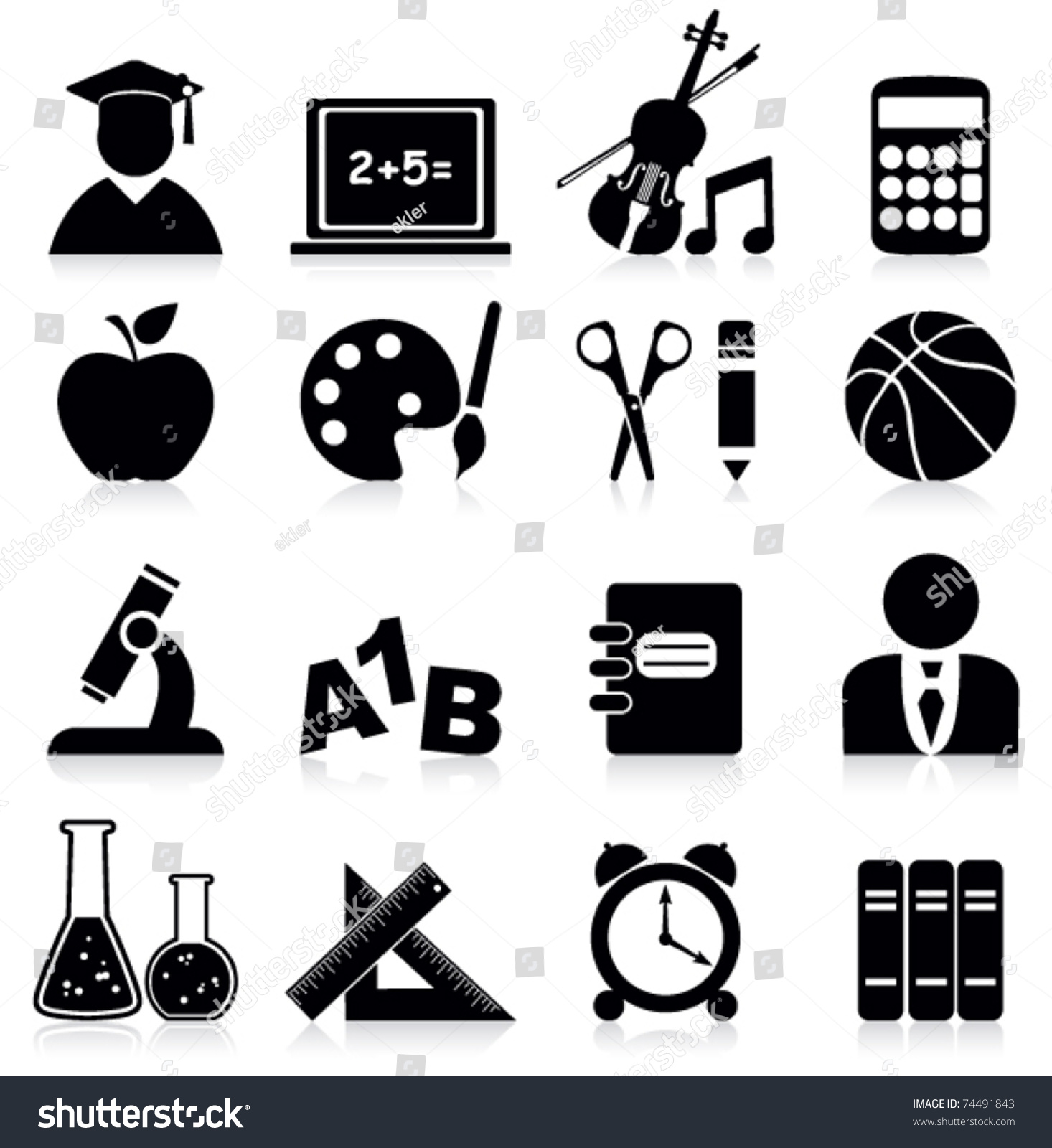 Education Icons Stock Vector 74491843 - Shutterstock