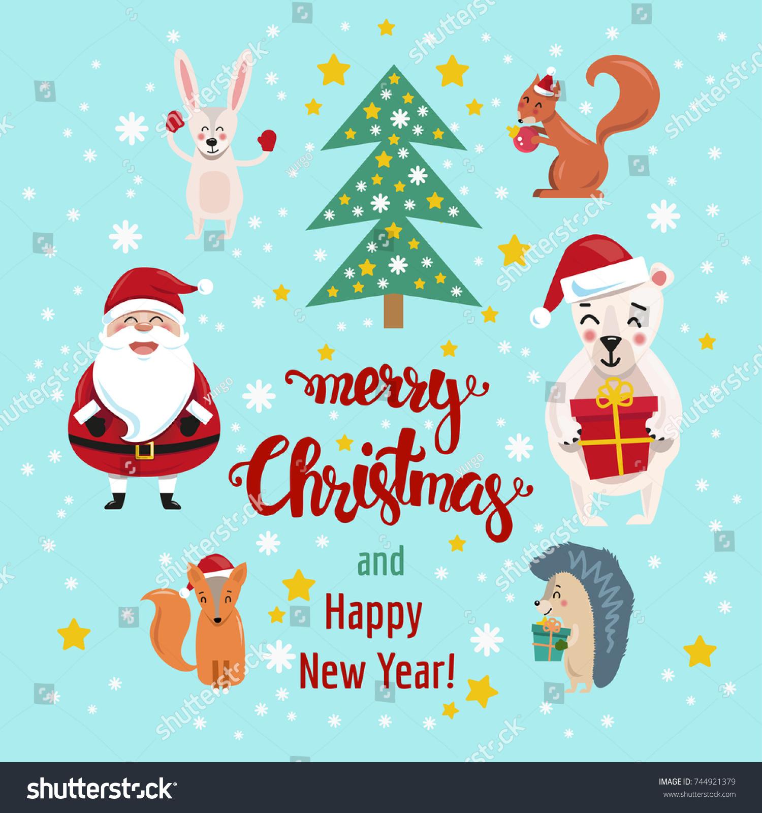 Merry Christmas Christmas Greetings Cute Happy Stock Vector Royalty