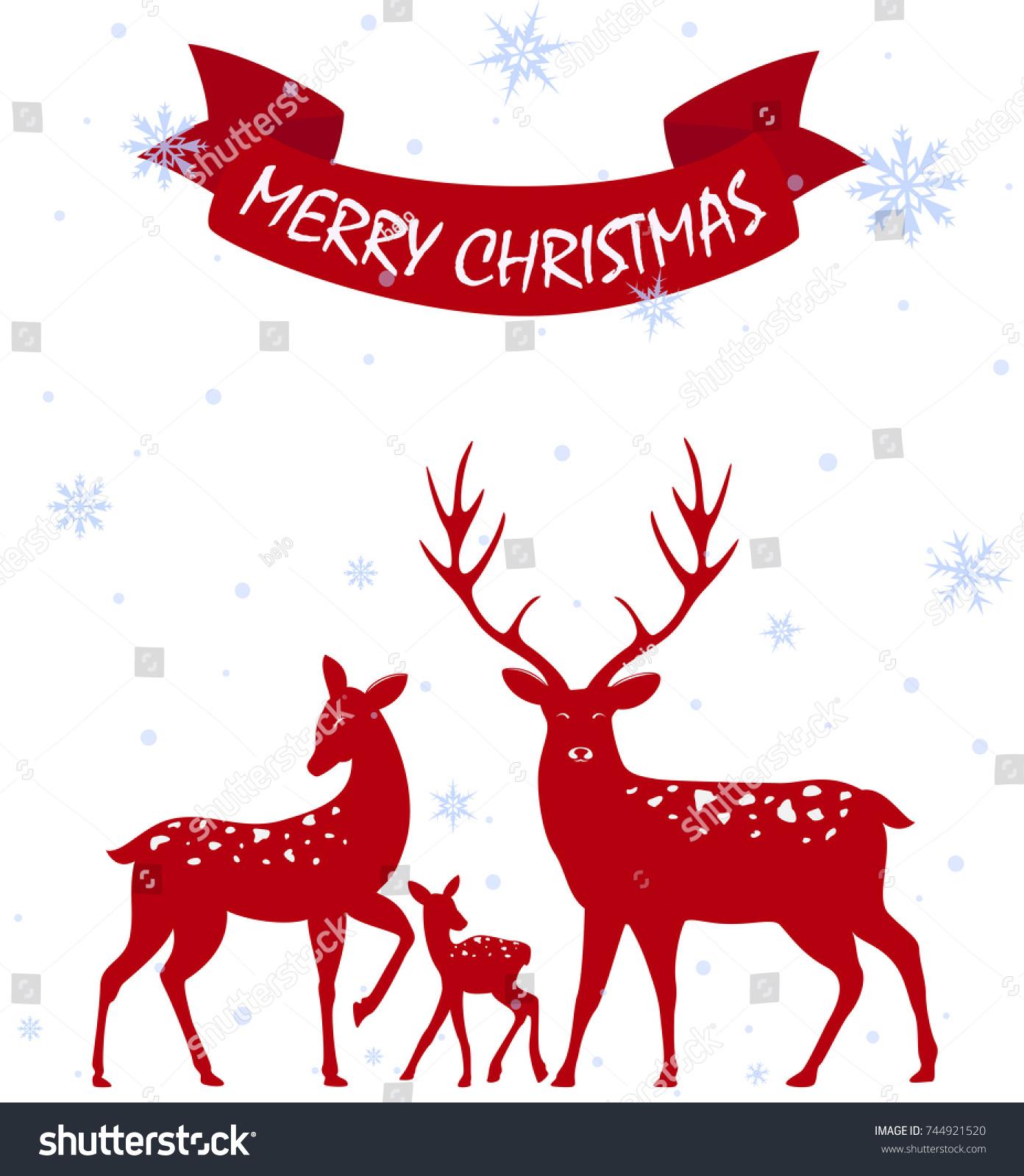 Merry Christmas Deer Family Greeting Card Stock Vector 744921520