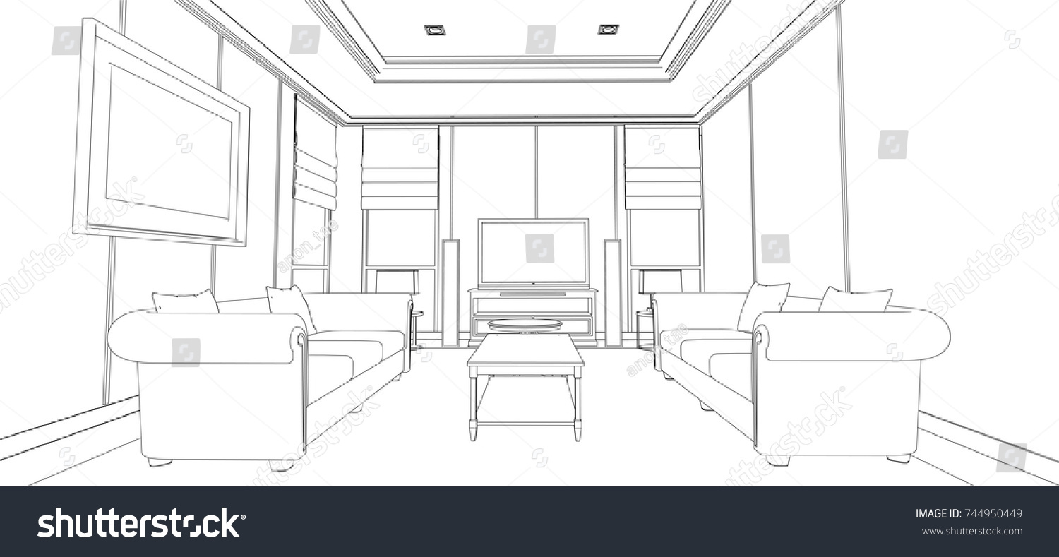 Linear Sketch Interior Living Room Plan Stock Vector 744950449 ...