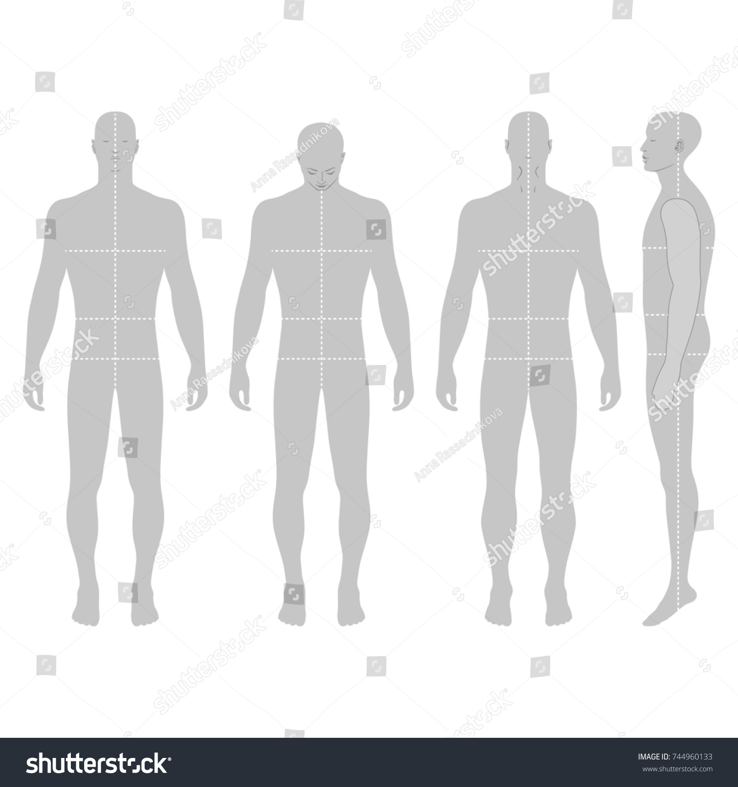 Fashion Body Full Length Bald Template Stock Illustration 744960133 ...