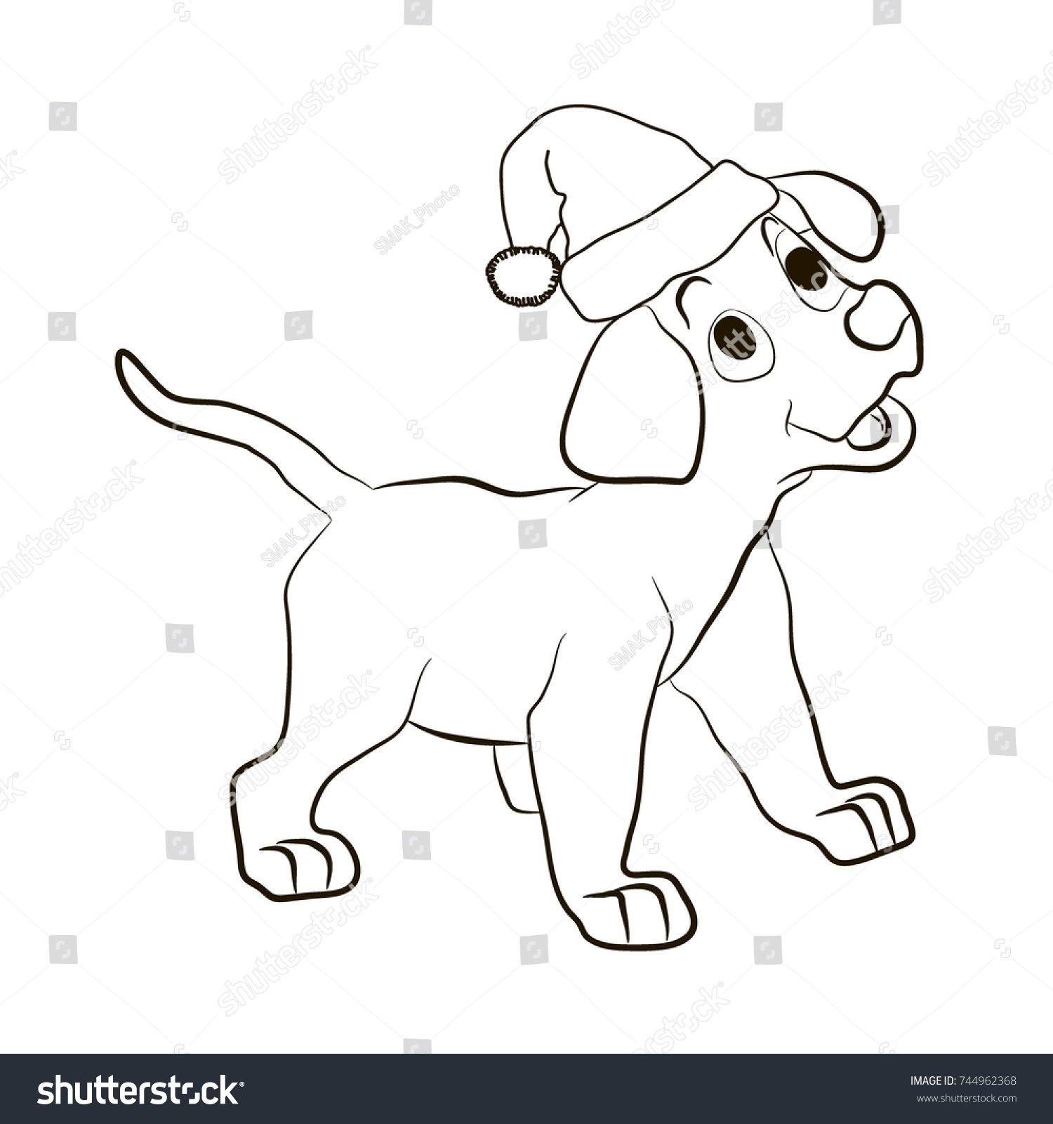 Puppy Hat Santa Claus Smiles Animals Stock Vector 744962368 ...