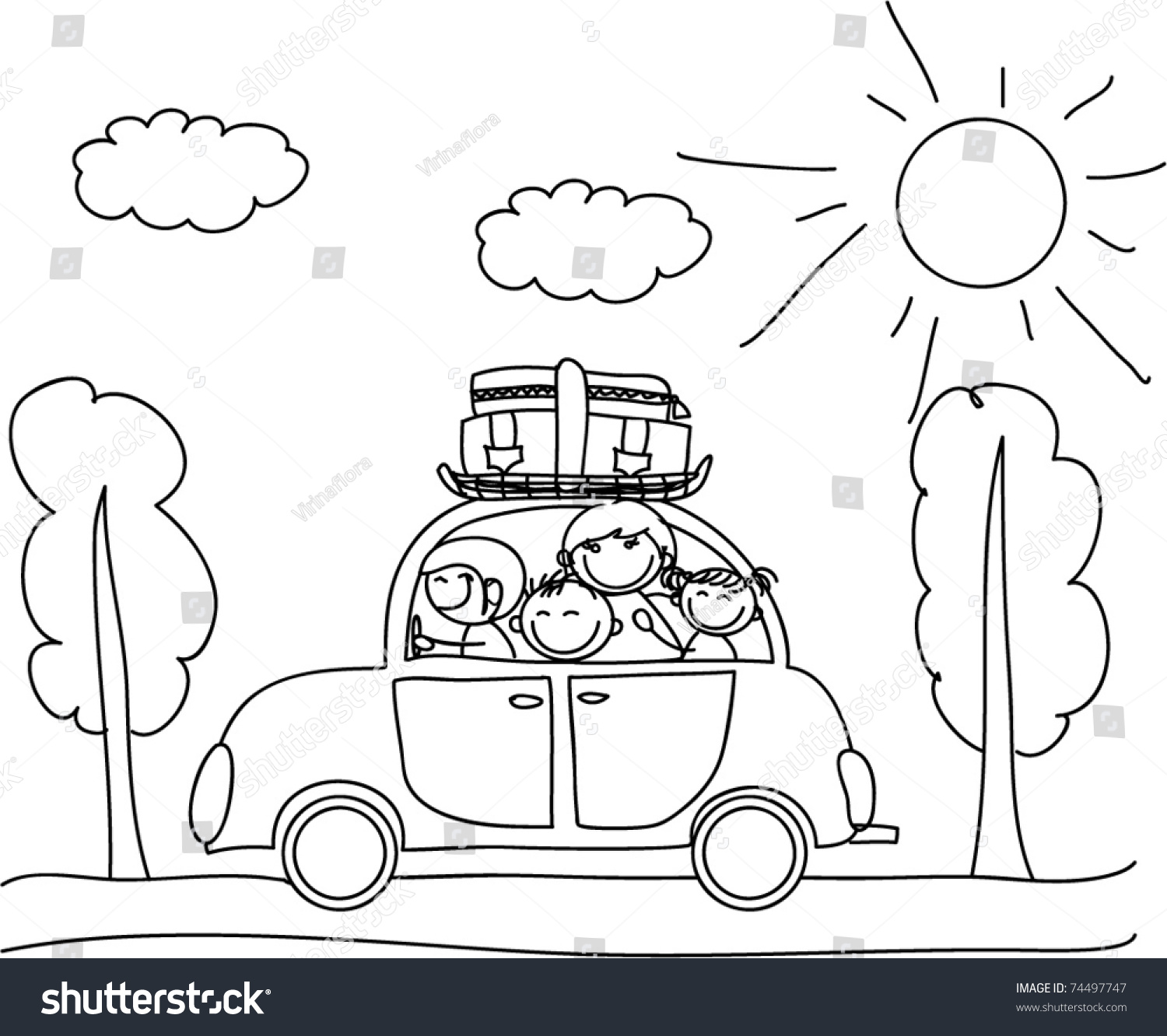 Coloring in the car - Happy Family Going On Holiday By Car Black And White Coloring