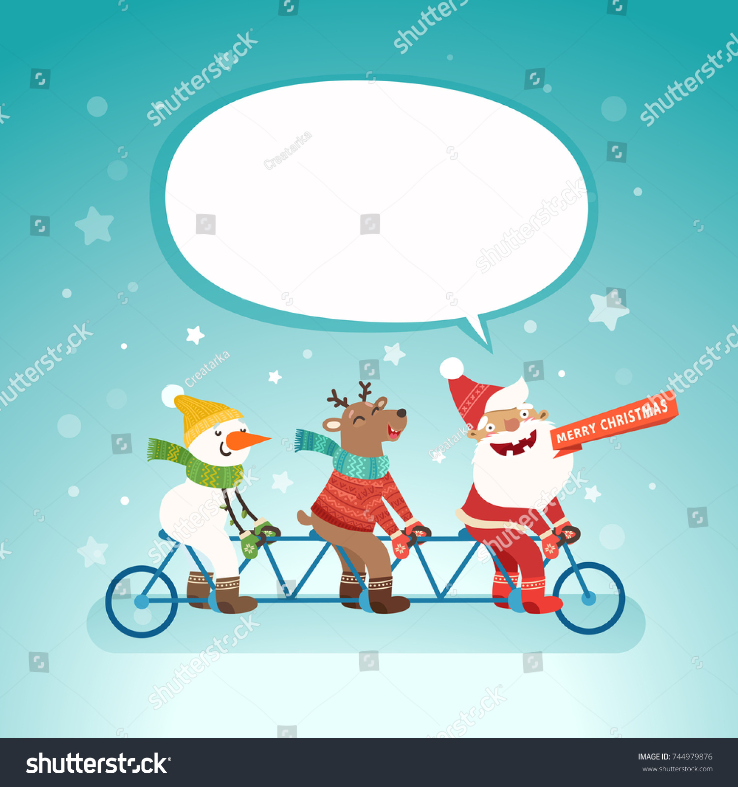 merry christmas cute postcard with speech bubble for your text santa claus deer and