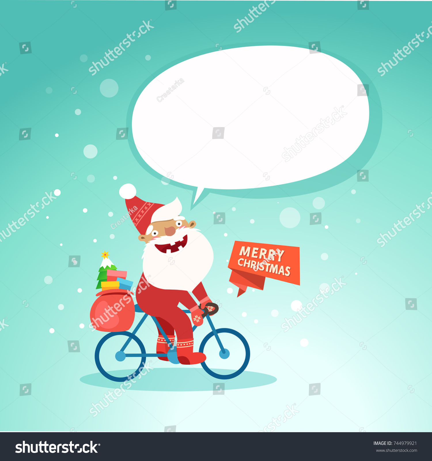 Merry Christmas Cute Santa Claus On Stock Vector (Royalty Free ...