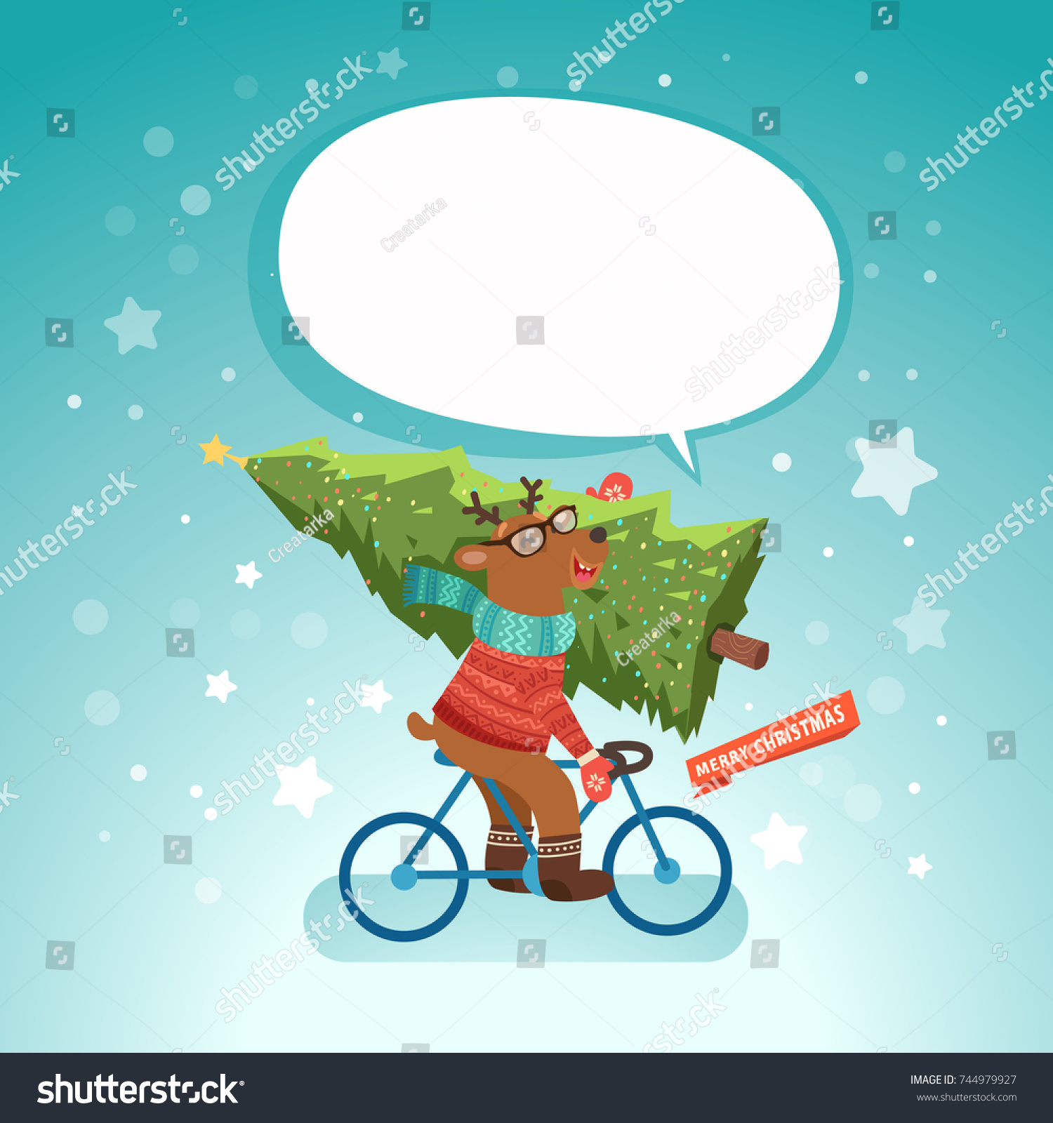 Merry Christmas Cute Reindeer On Bicycle Stock Vector (Royalty Free ...