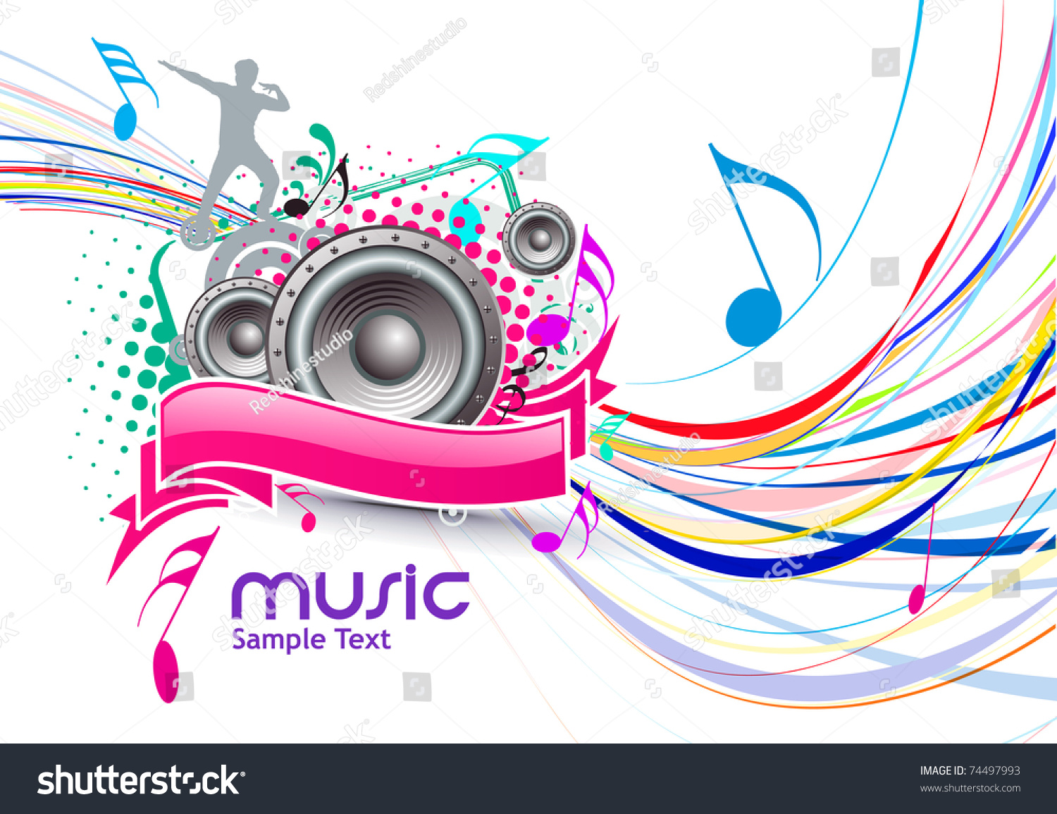 Full Color Music Background: Abstract Colorful Music Event Background With Color Full