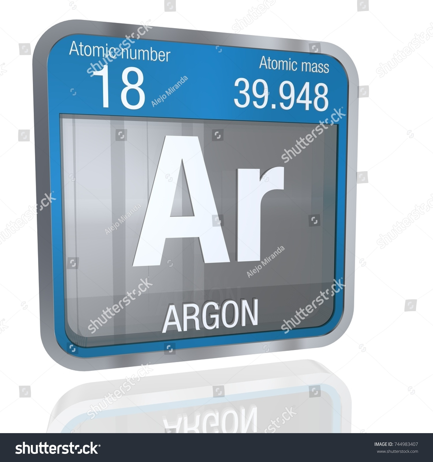 Argon symbol square shape metallic border stock illustration argon symbol in square shape with metallic border and transparent background with reflection on the floor gamestrikefo Choice Image