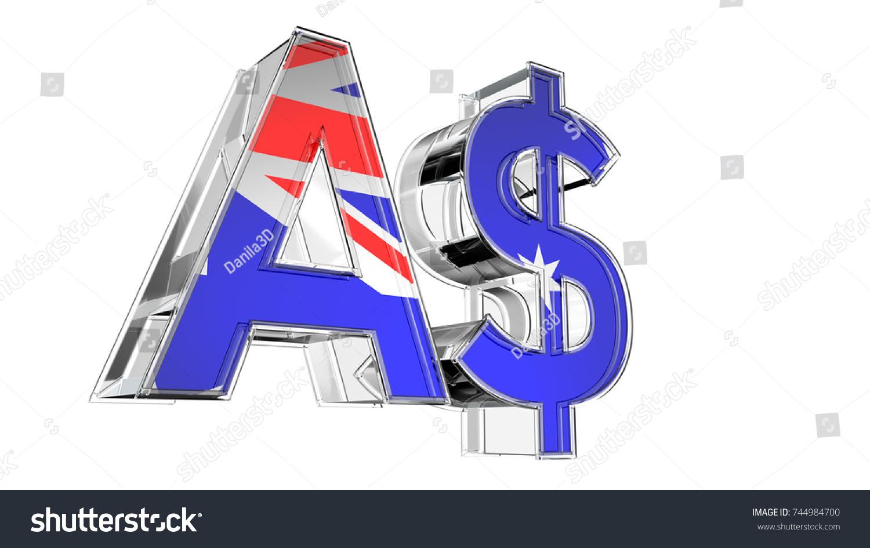 Australian Dollar Symbol 3 D Render Isolated Stock Illustration