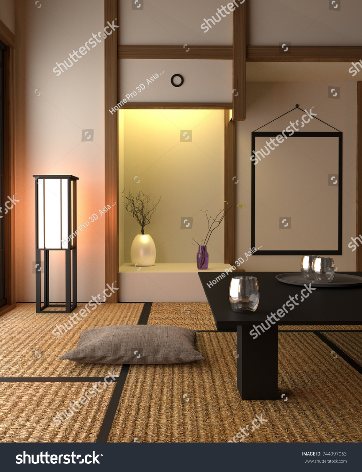 Japanese Style Interior Design   Living Room. 3D Rendering
