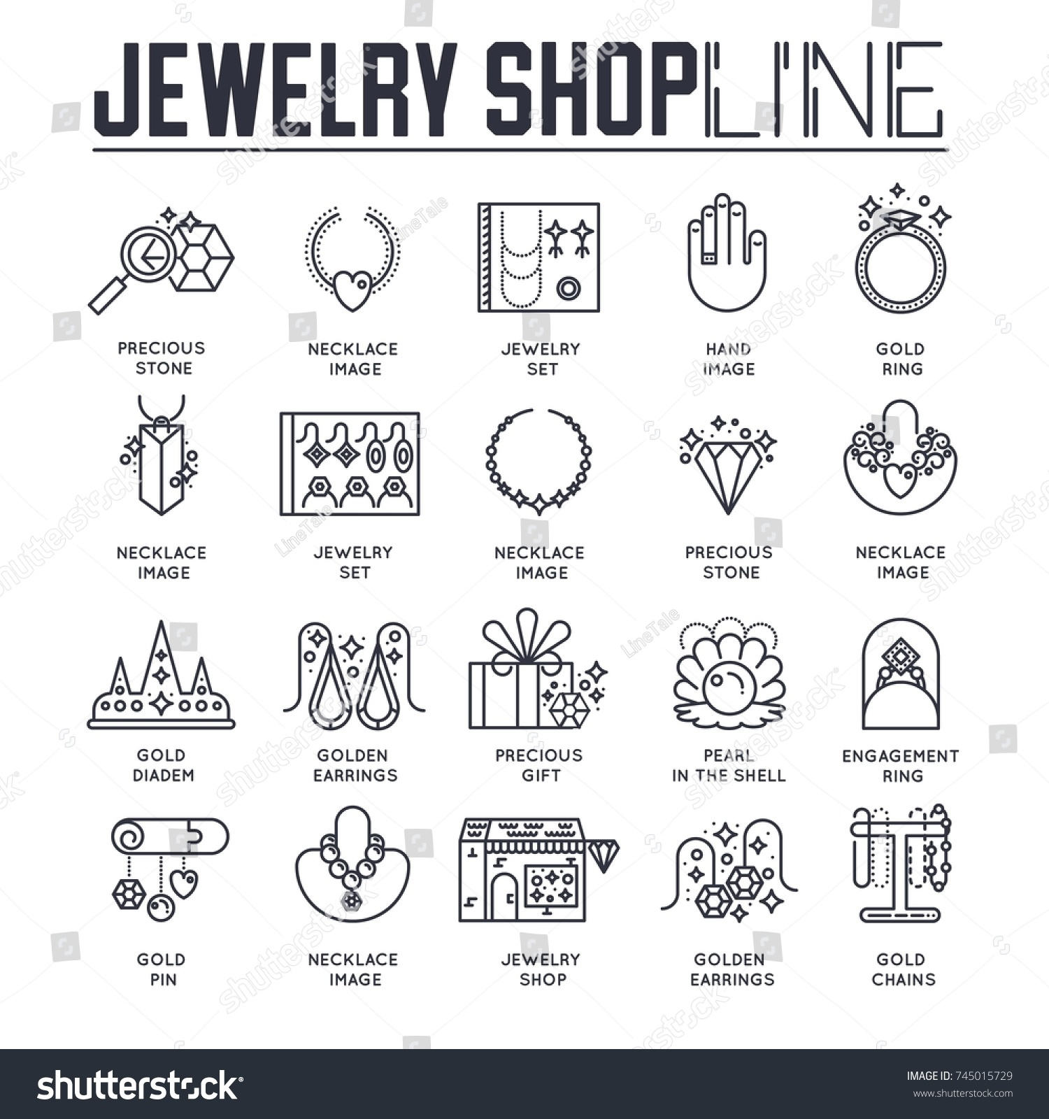 Set different icons dedicated jewelry shop stock vector 745015729 set of different icons dedicated to jewelry shop in thin line style linear symbol pack biocorpaavc