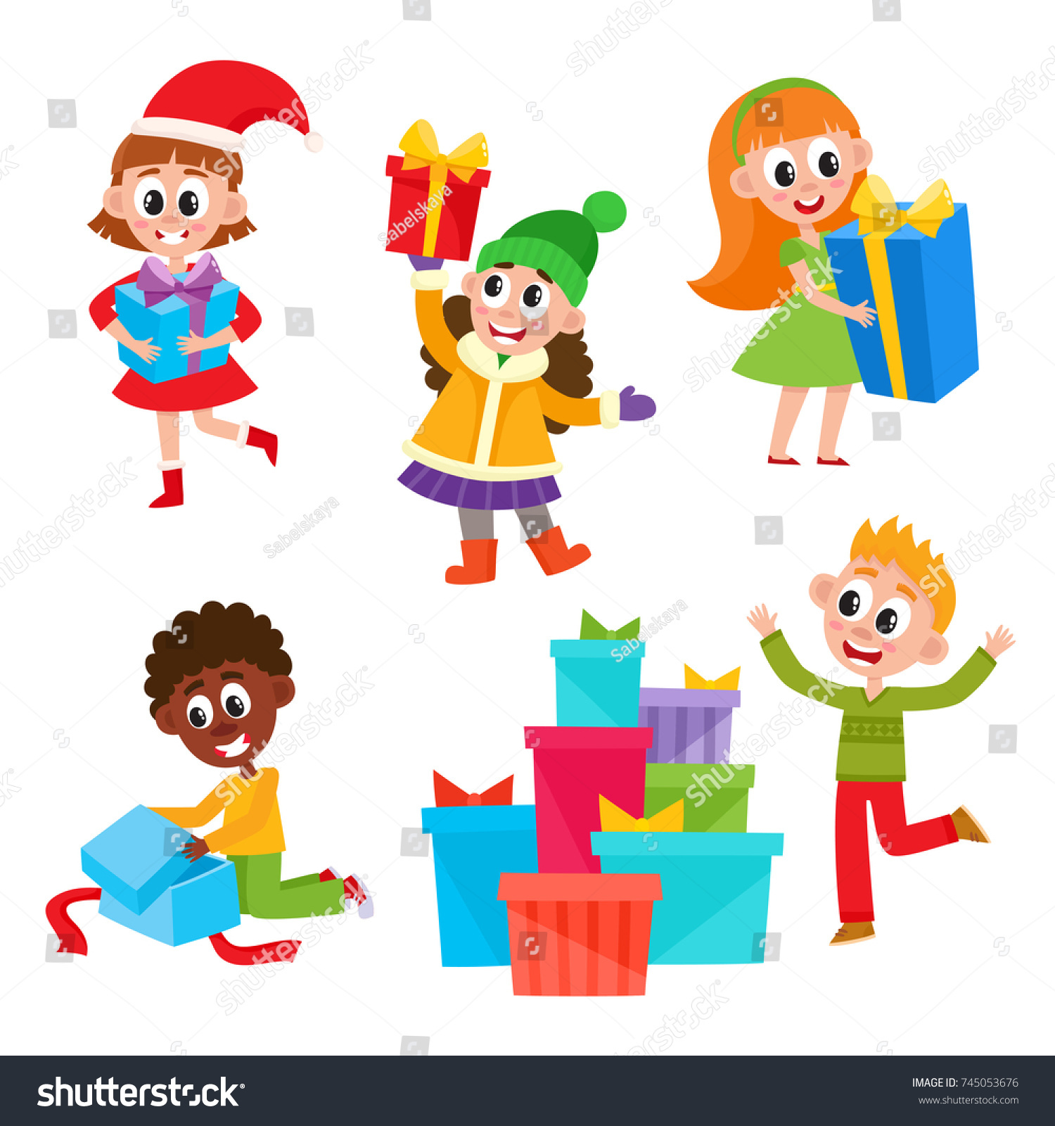 Set Cute Little Kids Children Holding Stock Vector