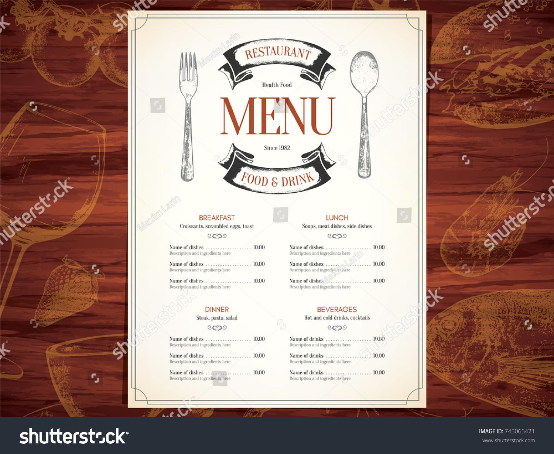 Restaurant Menu Design Vector Menu Brochure Stock Vector - Menu brochure template