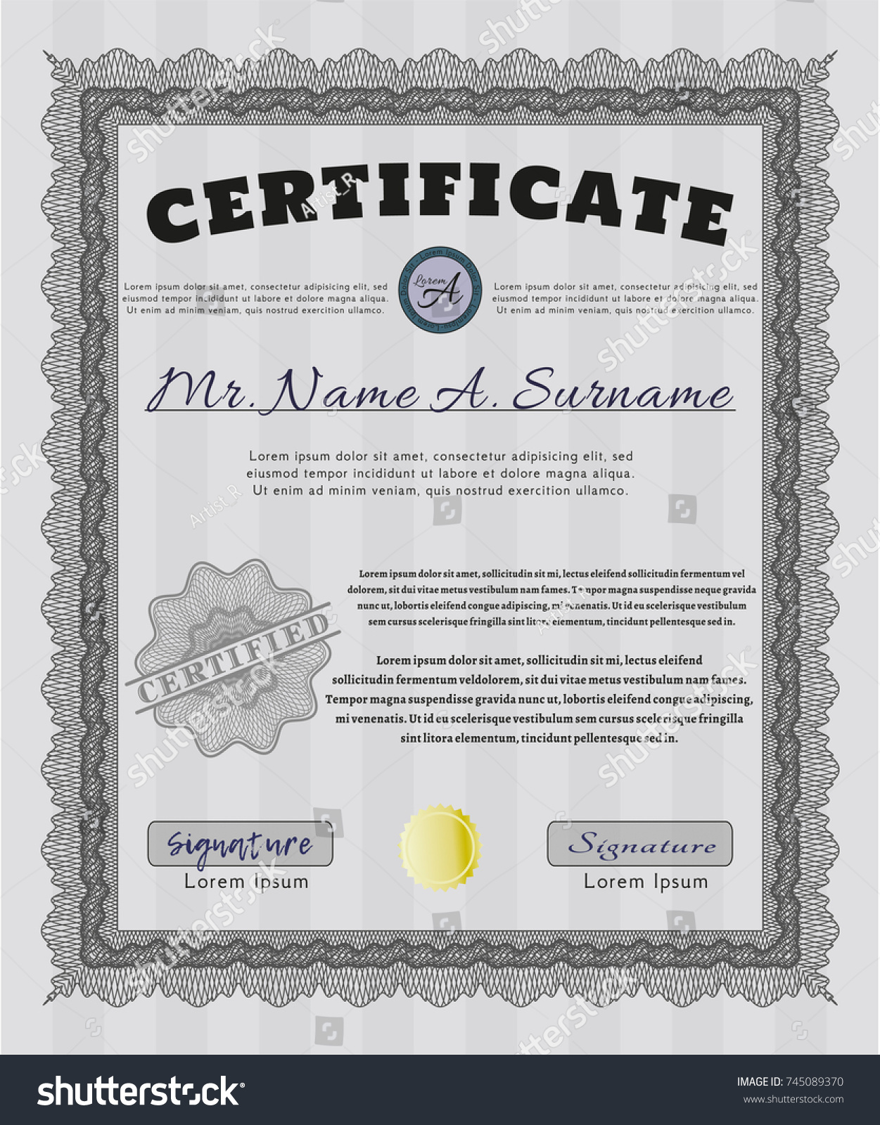 Grey certificate template customizable easy edit stock vector grey certificate template customizable easy to edit and change colors with great quality yelopaper Images
