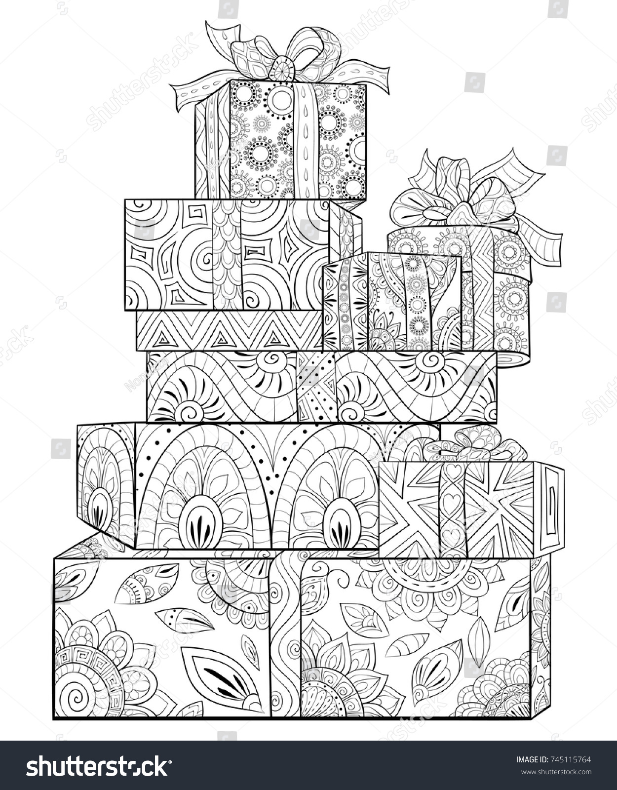 Adult Coloring Pagebook Set Gift Boxes Stock Vector 745115764 ...