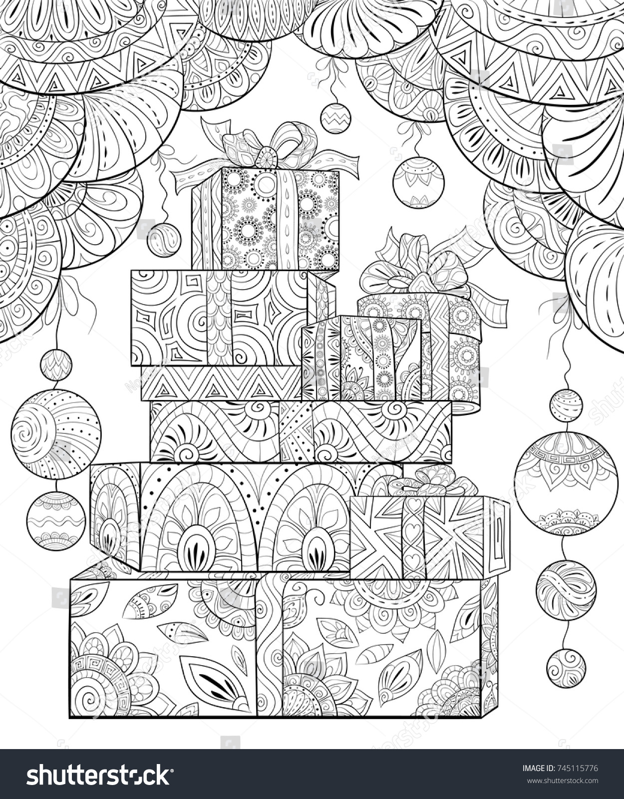 Adult Coloring Pagebook Set Gift Boxes Stock Vector 745115776 ...