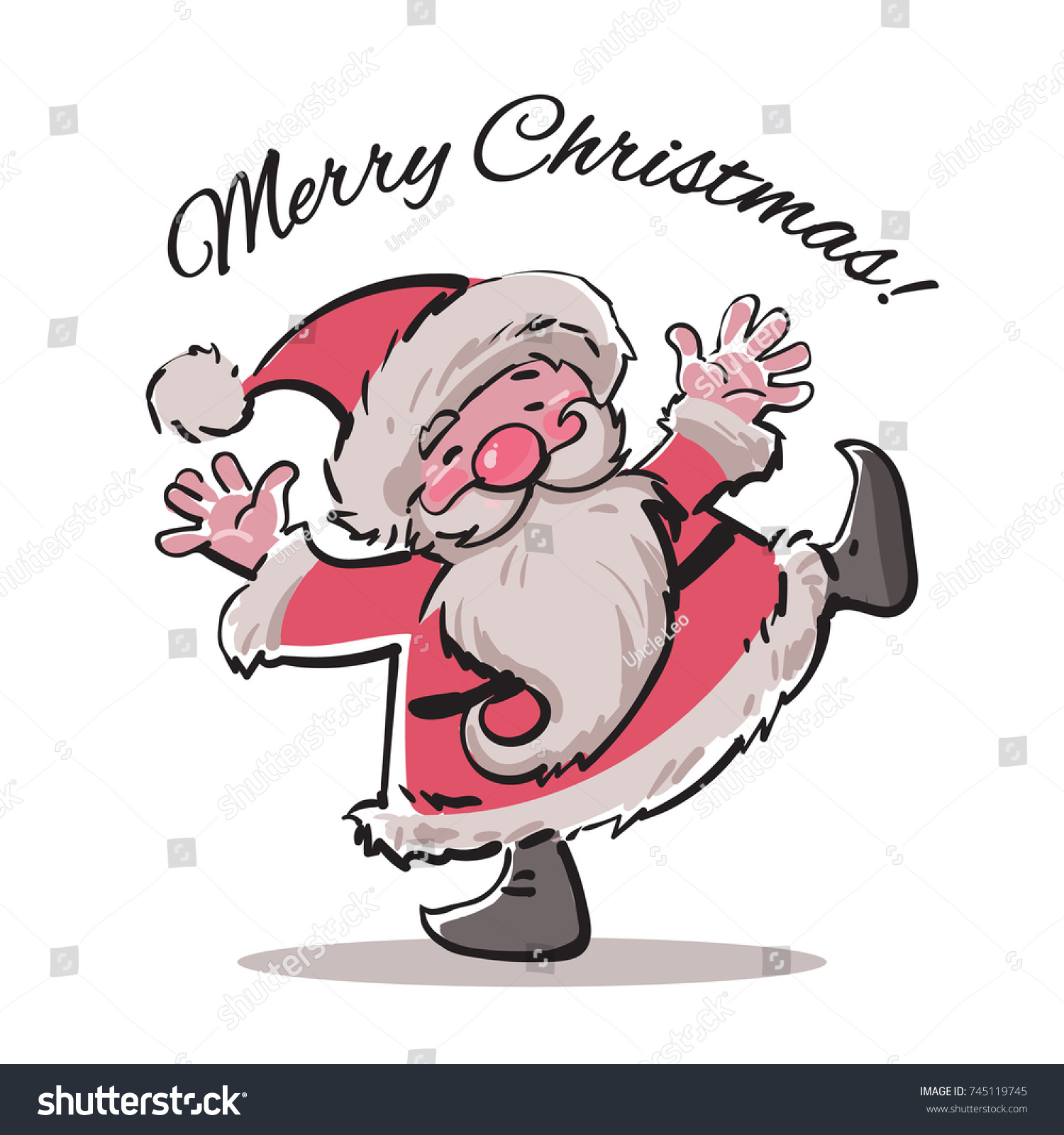 Funny Cartoon Santa Claus Dancing Merry Stock Vector (Royalty Free ...