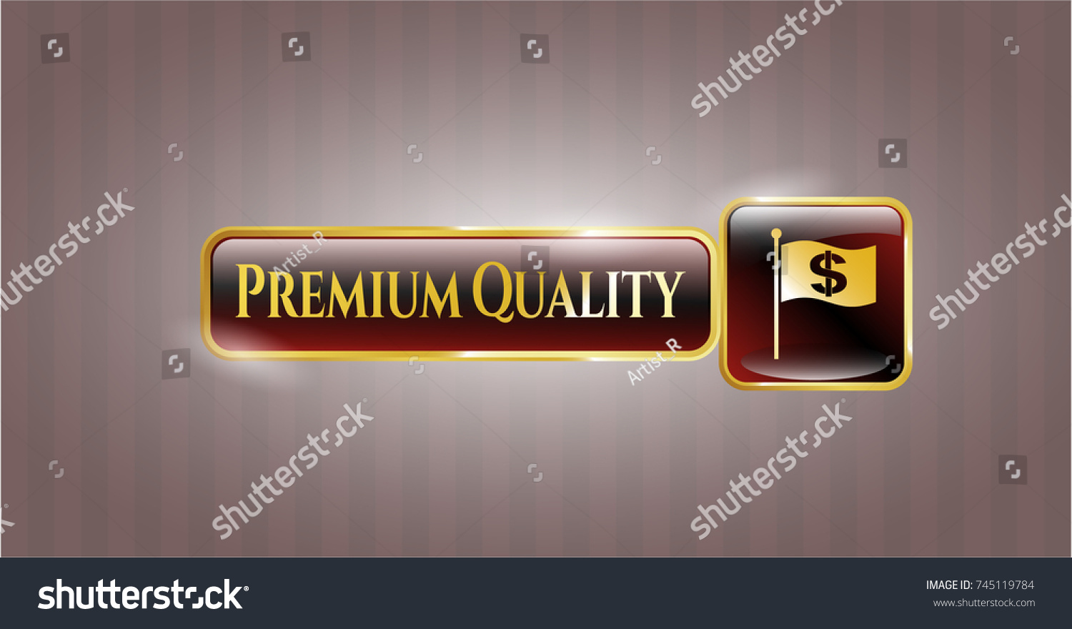 Golden Emblem With Flag With Money Symbol Inside Icon And Bedtime