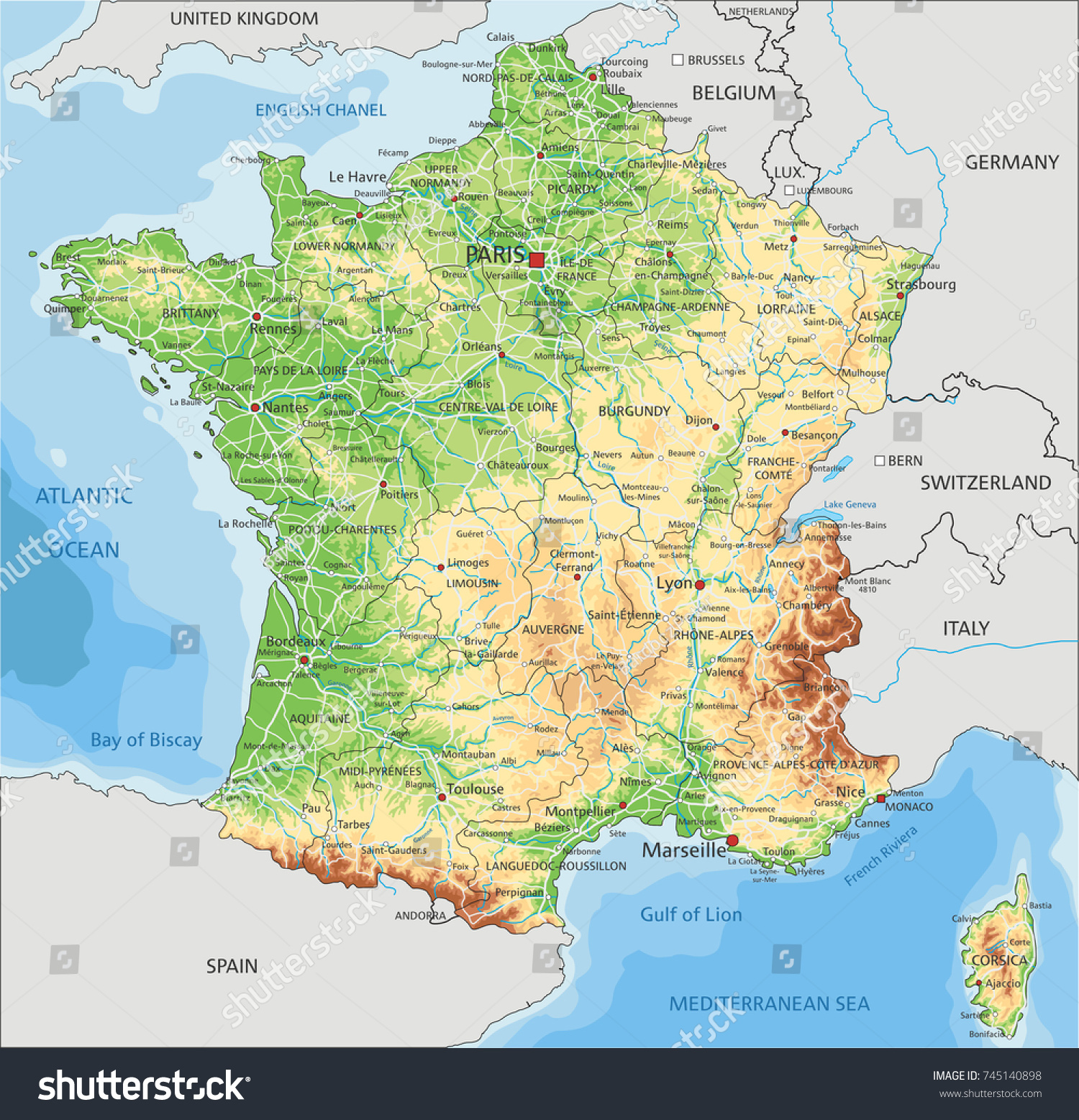 Detailed France Physical Map Stock Vector Royalty Free 745140898