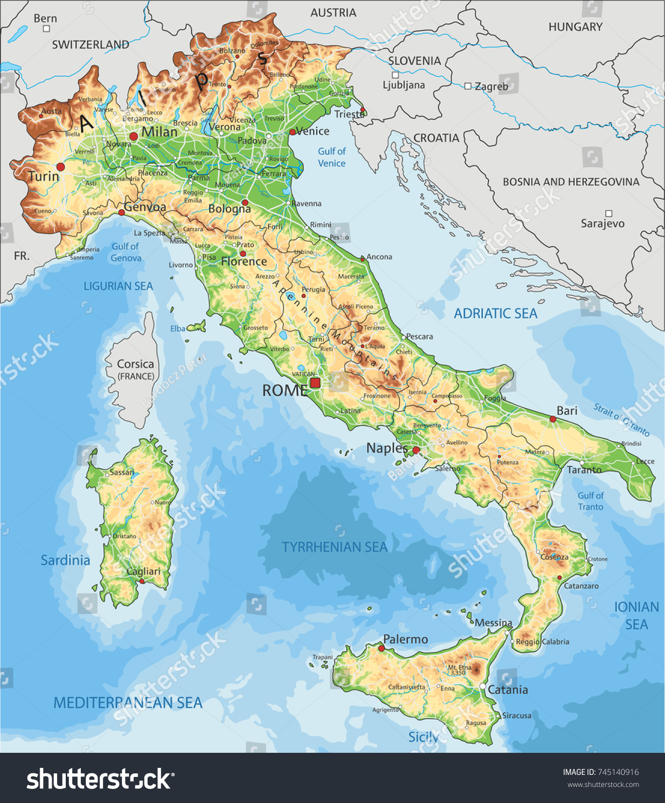 Detailed Italy Physical Map Stock Vector Shutterstock - Croatia physical map