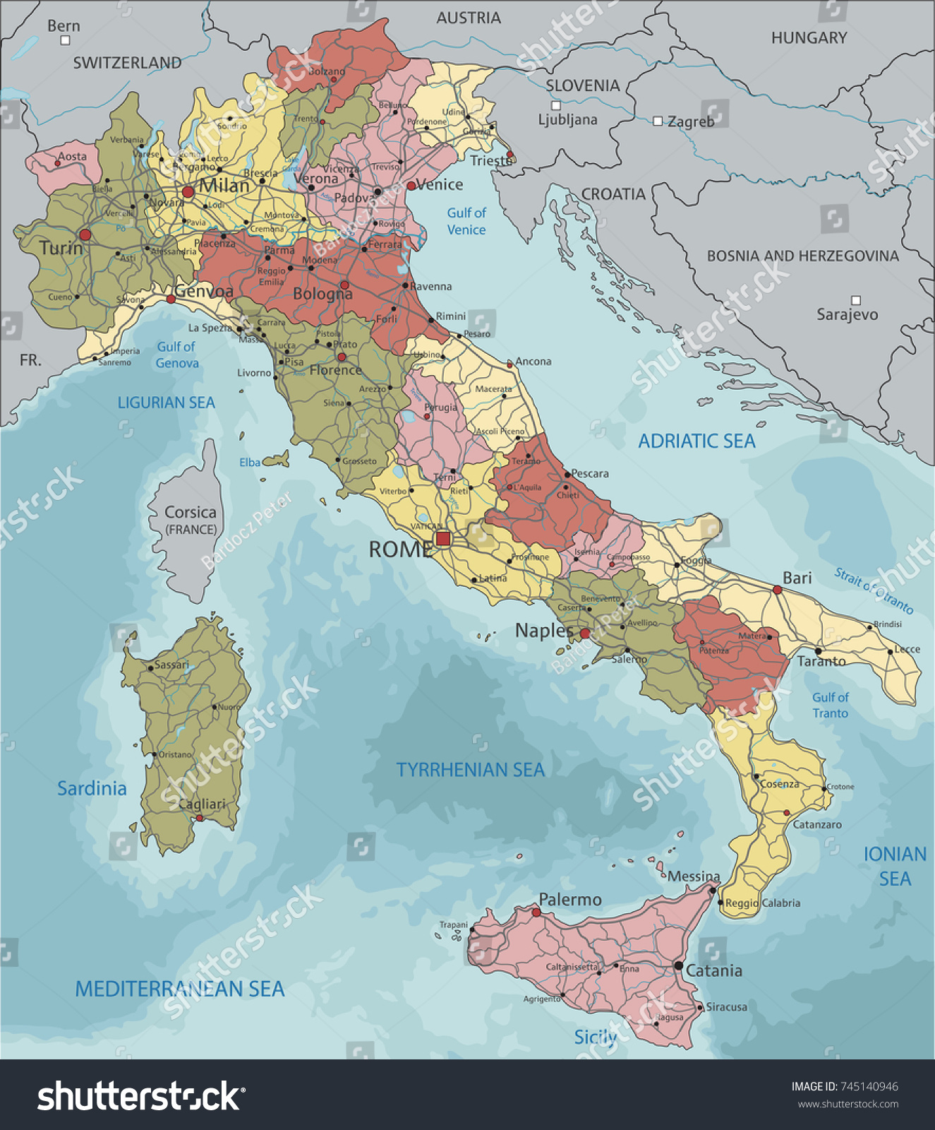 Detailed Italy Political Map Stock Vector 745140946 Shutterstock