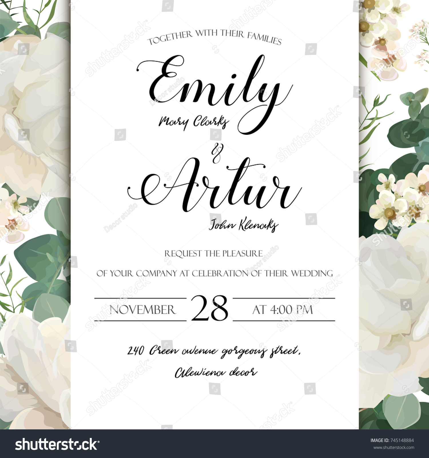 Floral Wedding Invitation Save Date Card Stock Vector (Royalty Free ...