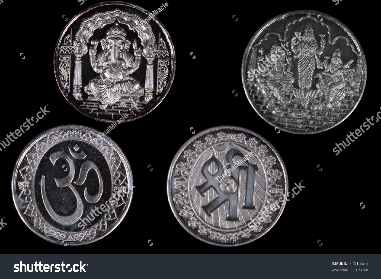 Silver Coins Designs Hindu Religious Symbols Stock Photo Edit Now