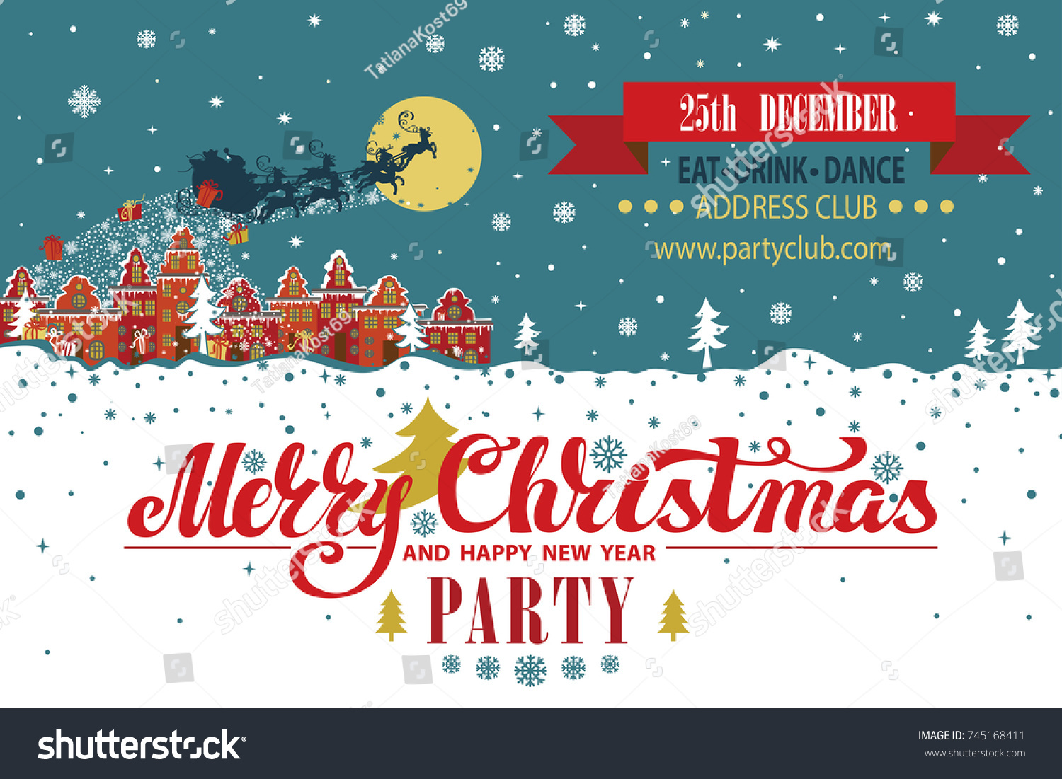 Christmas Party Invitationcard Year Template Santa Claus Image