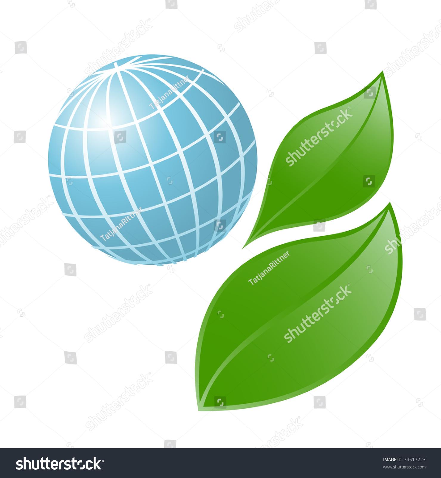 Symbol Globe Plant Vector Illustration Stock Vector 74517223
