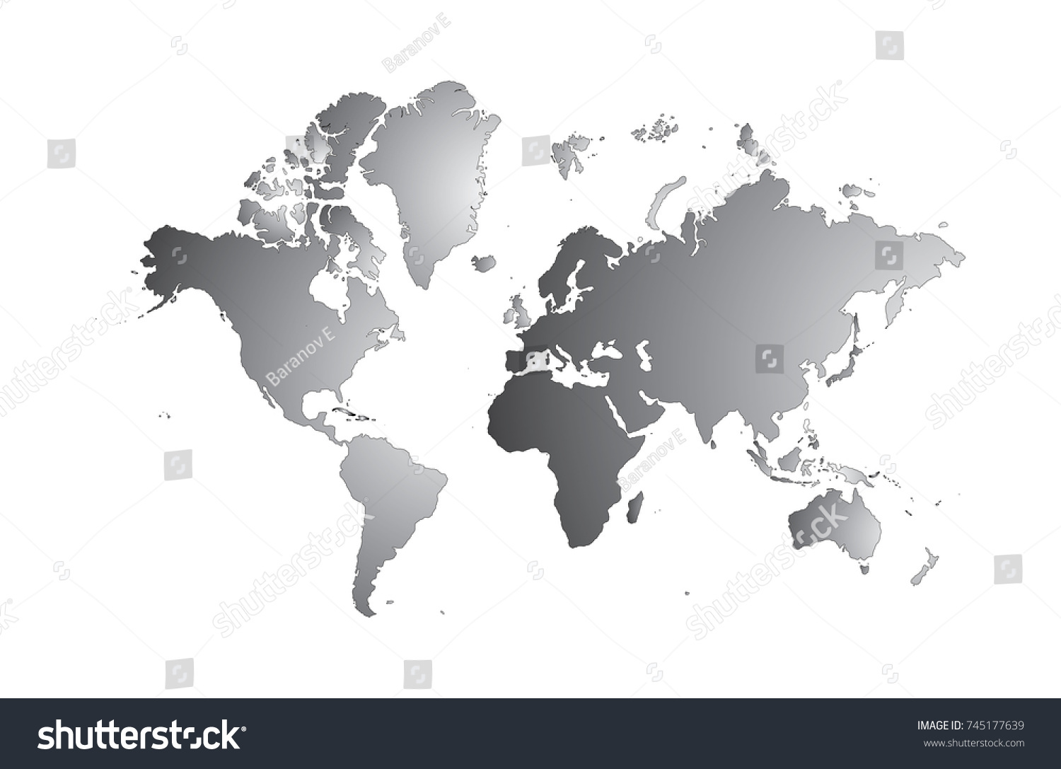 Blank grey world map isolated on stock vector 745177639 shutterstock blank grey world map isolated on white background popular world map vector globe template for gumiabroncs Images