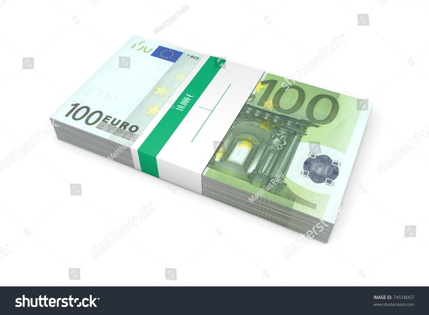 single packet of 100 euro notes with bank wrapper euros stock photo 74518057 shutterstock. Black Bedroom Furniture Sets. Home Design Ideas