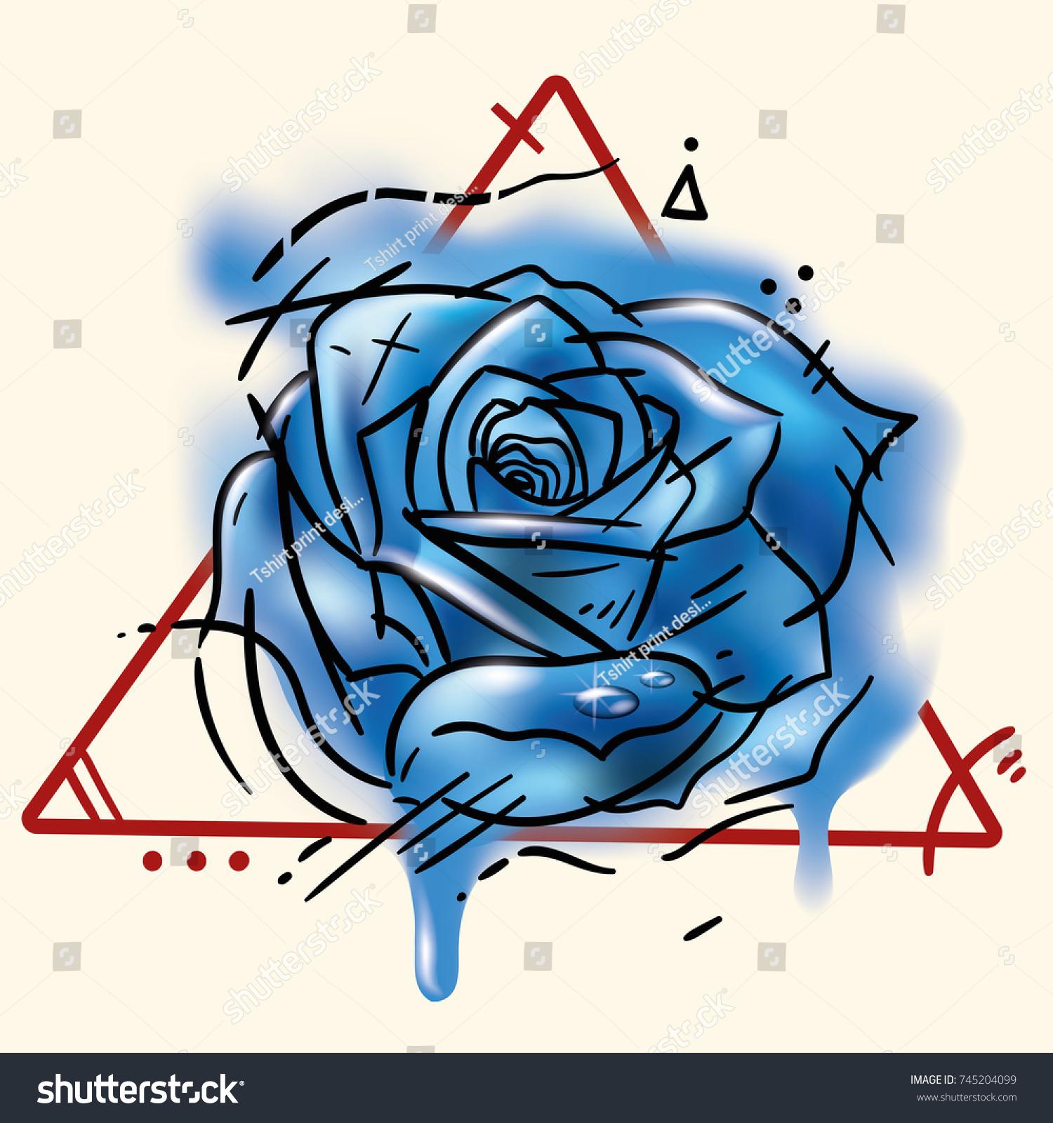Tattoo Blue Rose Illustration Watercolor Spots Stock Illustration