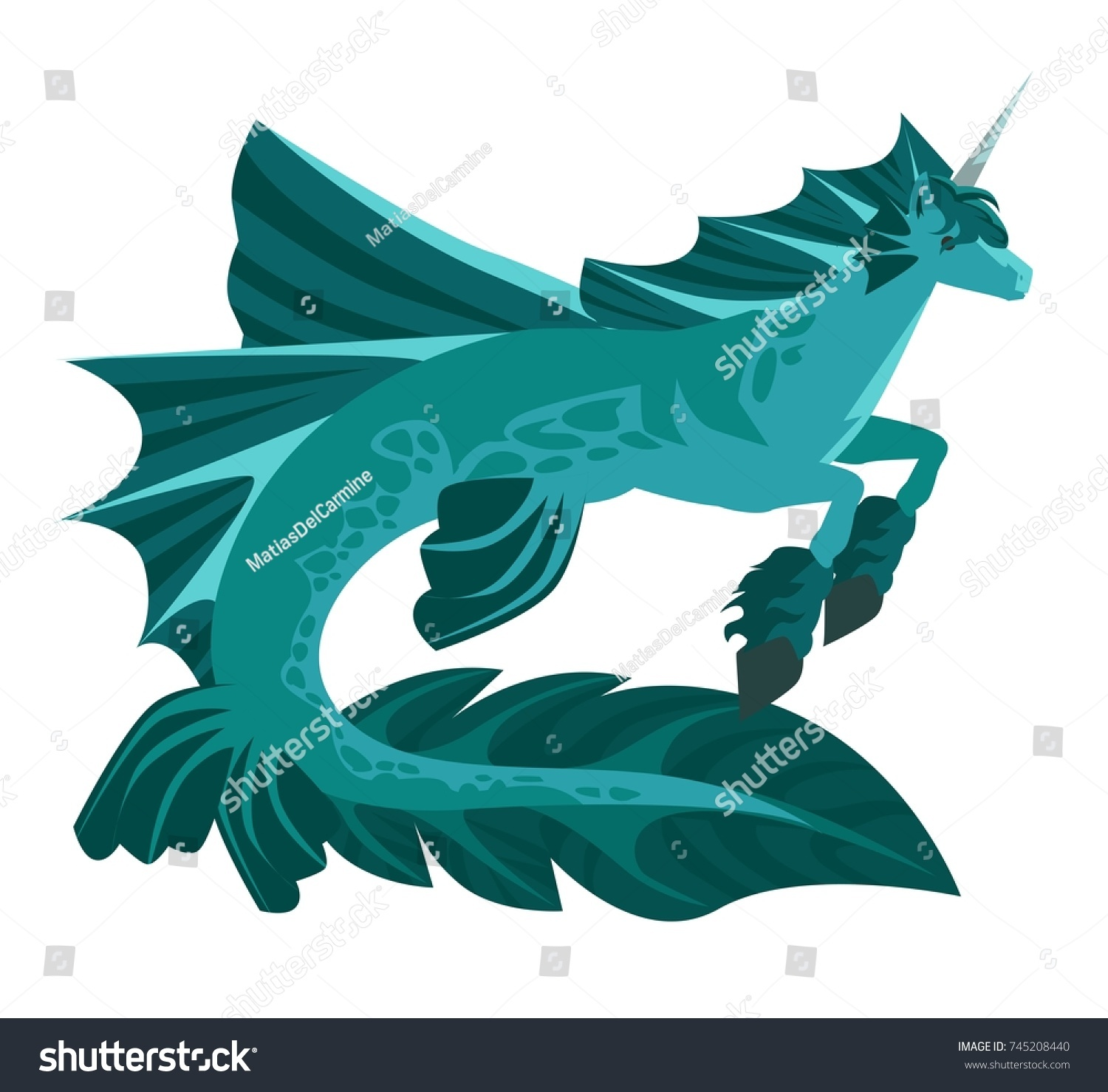 Hippocampus Mythology Seahorse Stock Vector Royalty Free 745208440