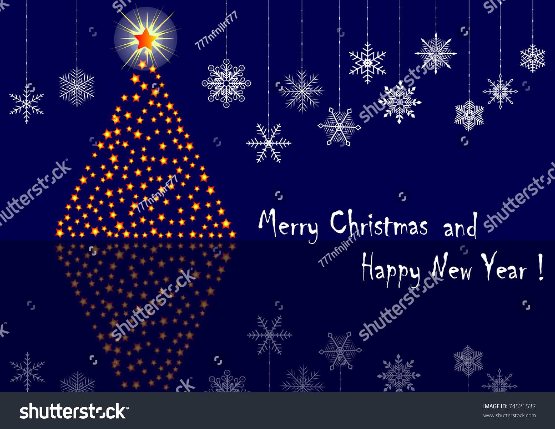 Christmas tree snowflakes reflection similar image stock