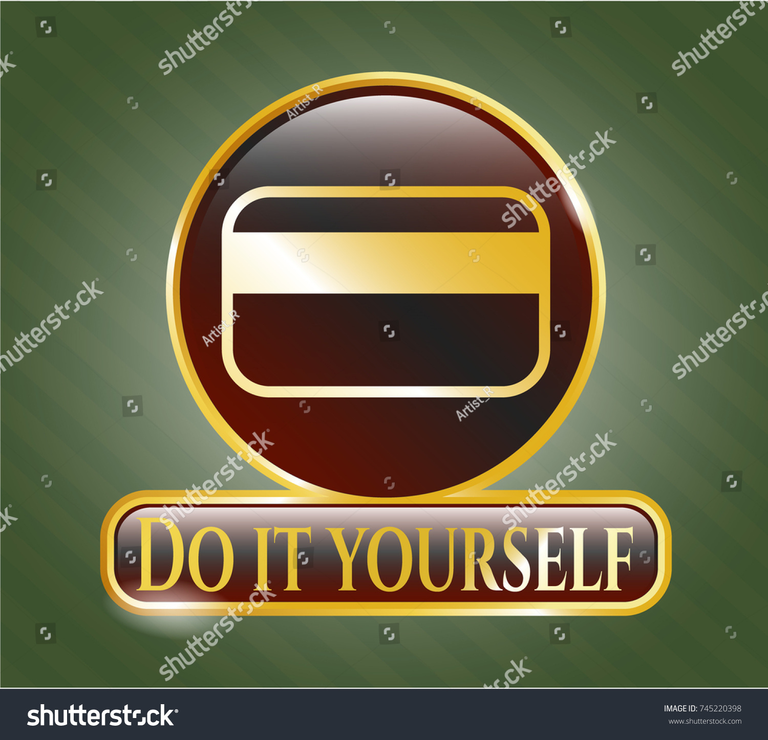Golden emblem credit card icon do stock vector 745220398 shutterstock golden emblem with credit card icon and do it yourself text inside solutioingenieria Gallery