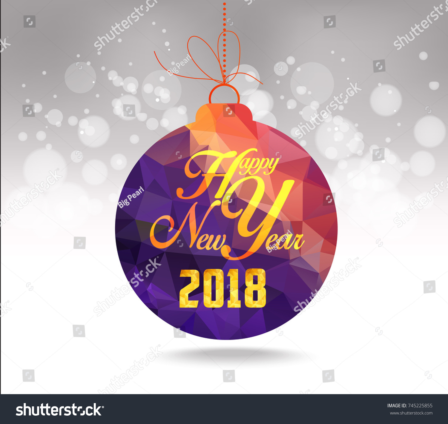 christmas and happy new year 2018 purple geometrical balls greeting card