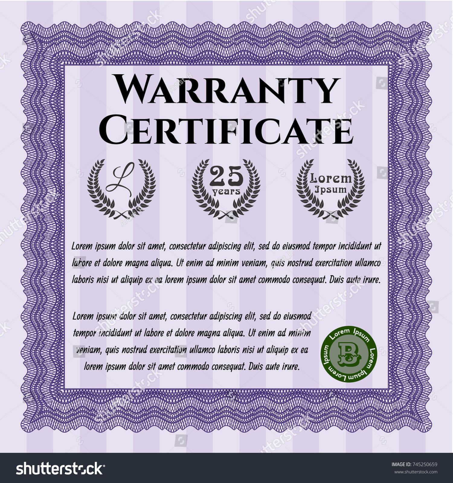 Violet vintage warranty certificate template easy stock vector violet vintage warranty certificate template easy to print vector illustration excellent design 1betcityfo Choice Image