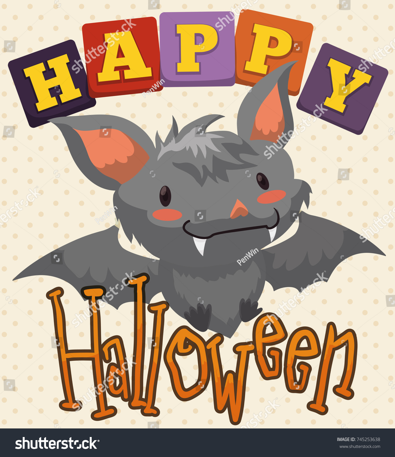 Poster greeting message cute baby bat stock vector 745253638 poster with greeting message and cute baby bat smiling at you in halloween celebration for children kristyandbryce Images