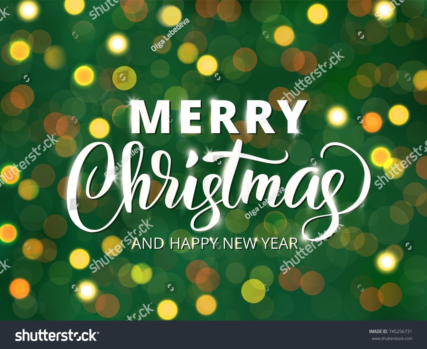 Merry christmas happy new year text stock vector 745256731 merry christmas and happy new year text hand drawn letters blurred background with glowing kristyandbryce Images