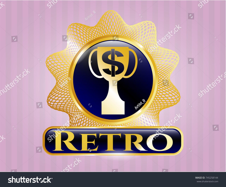 Gold Badge Trophy Money Symbol Inside Stock Vector Royalty Free