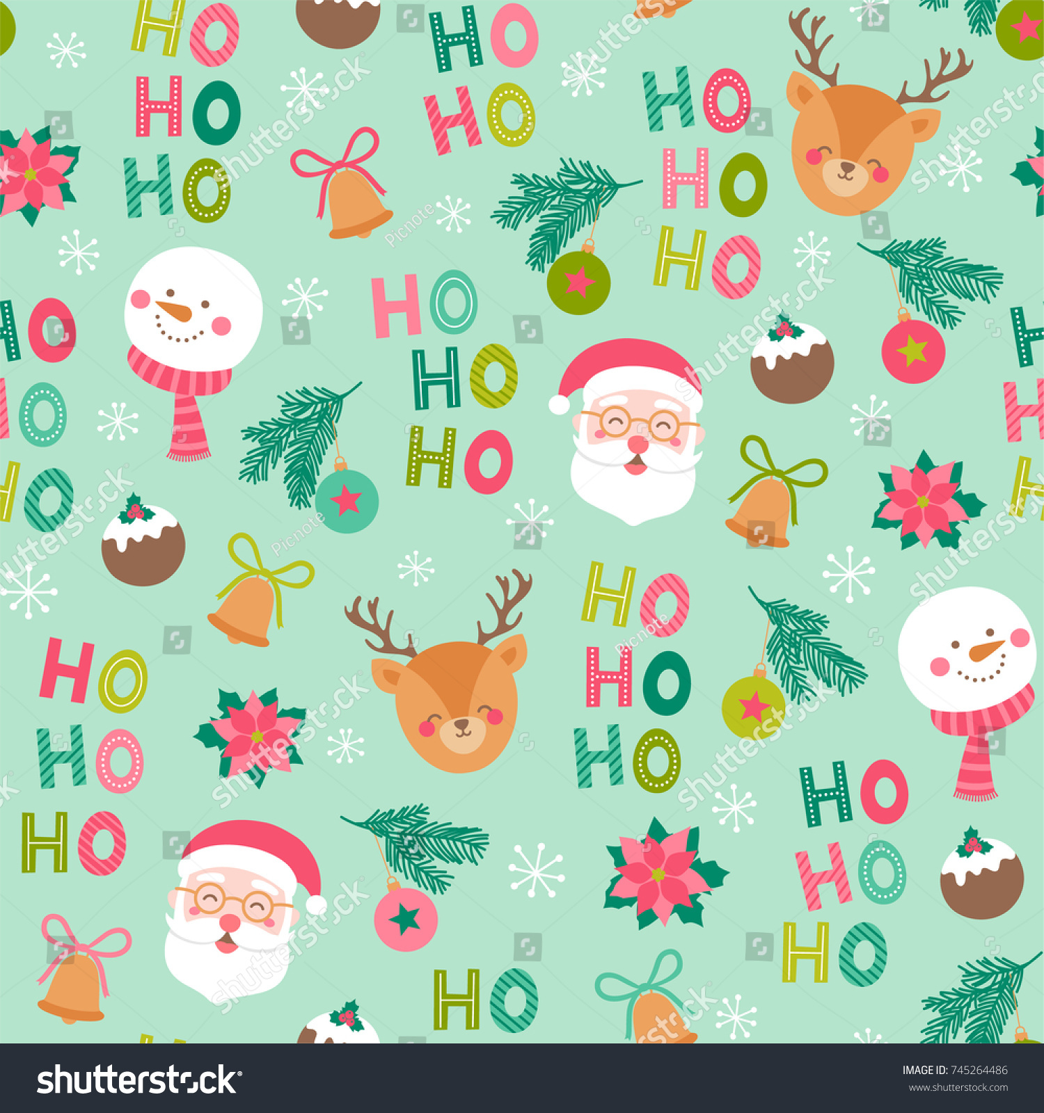 cute christmas characters and elements seamless pattern background