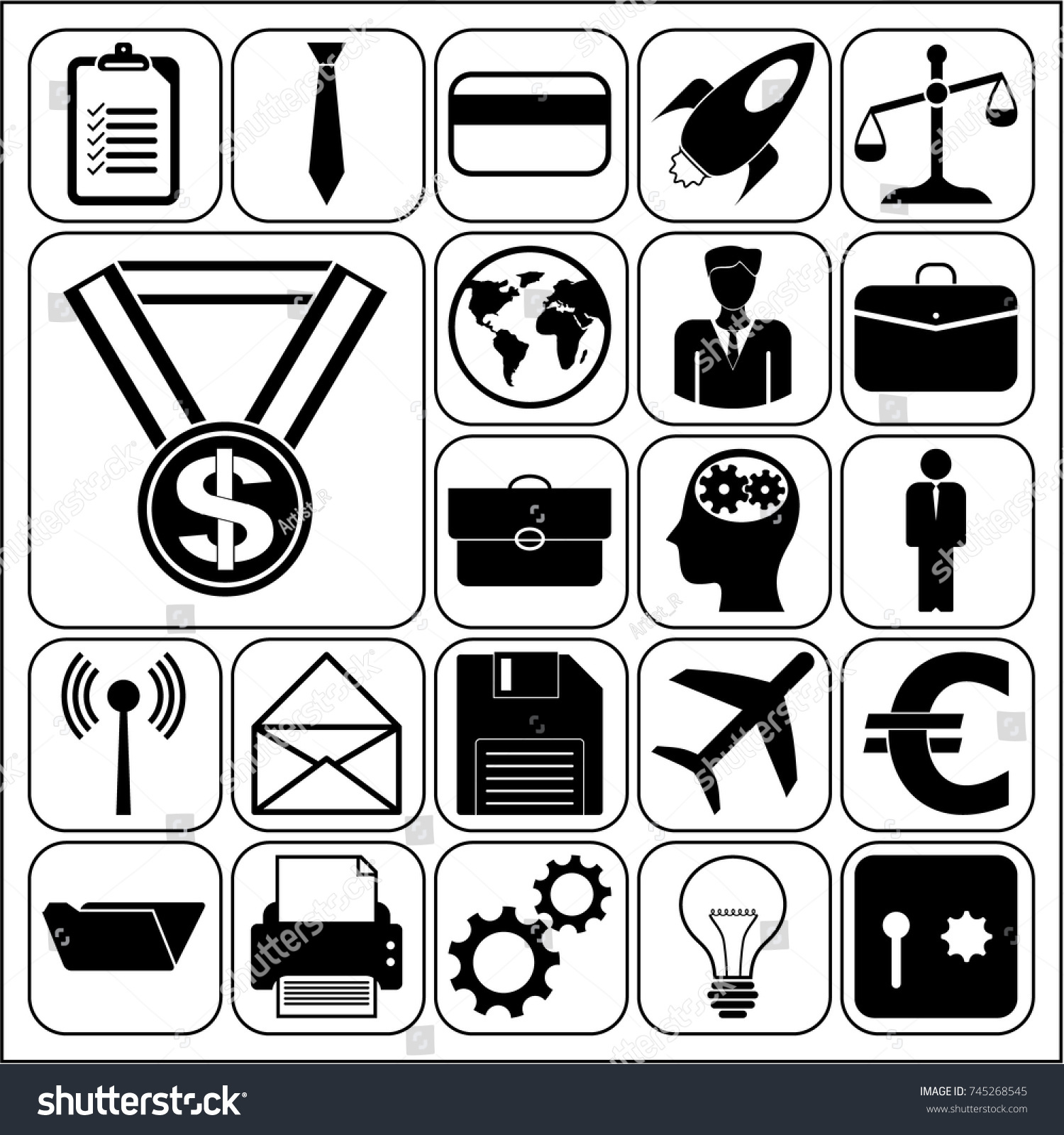 Set 22 Business Symbols Icons Collection Stock Vector 745268545
