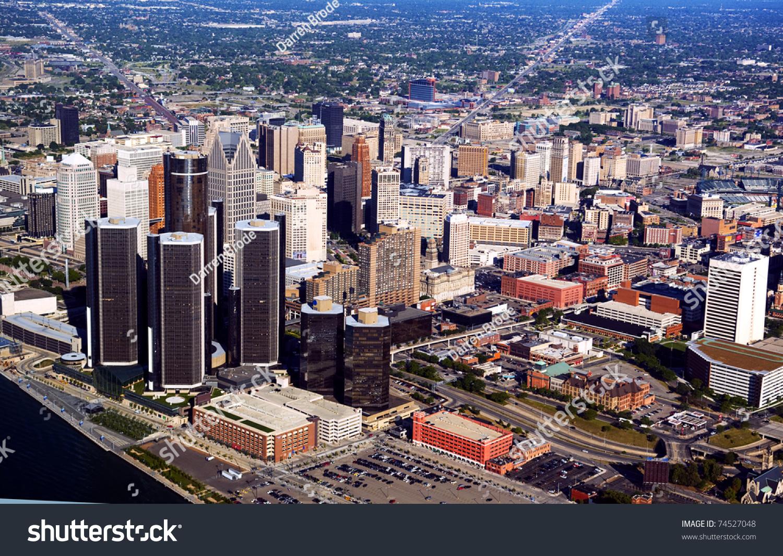 Aerial photo motorcity detroit michigan stock photo for Motor city detroit mi